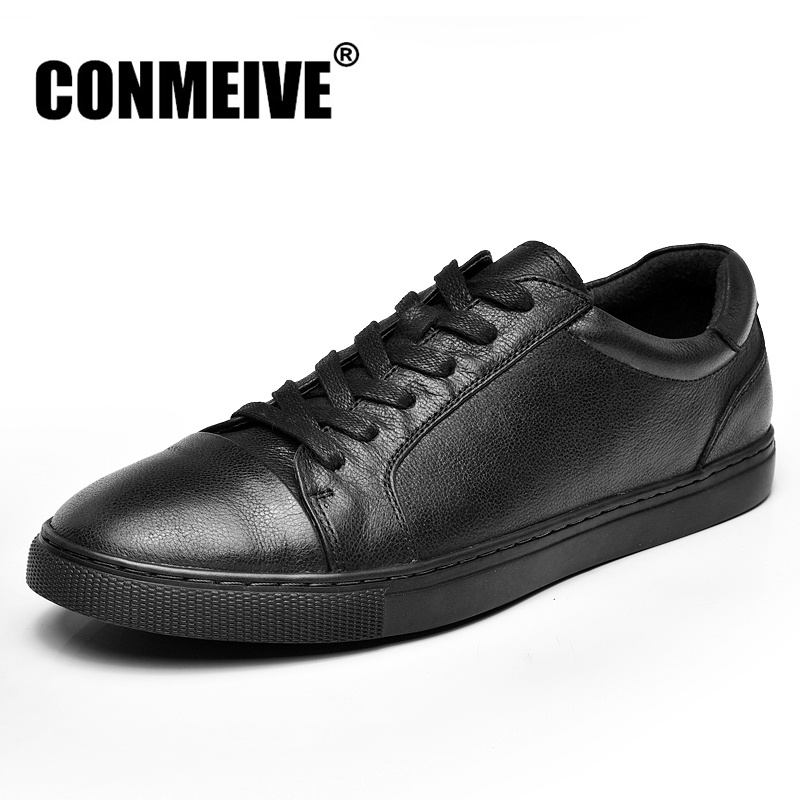 Luxury Brand Genuine Leather Men Shoes Casual Fashion Black Lace-up Mens Flat Shoes Autumn Winter Comfortable Male Sneakers hot sale spring autumn man flat high top comfortable sneakers genuine leather lace up men black color casual shoes brand boots