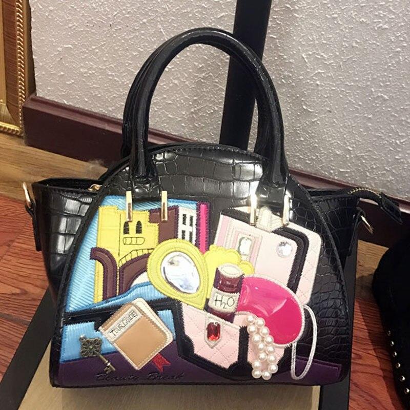 SJ femmes en cuir Patchwork broderie sacs à bandoulière Messenger sac à main fourre-tout Braccialini dessin animé Crocodile motif boîte à bijoux