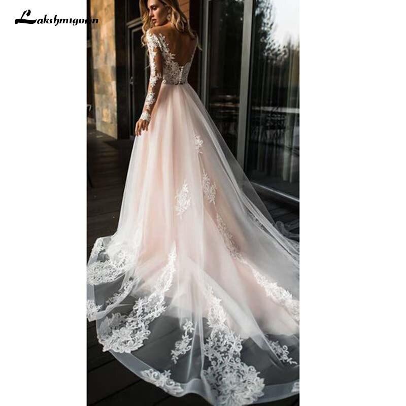 Hot Sale Long Sleeves Pink Beach Wedding Dresses Court Train