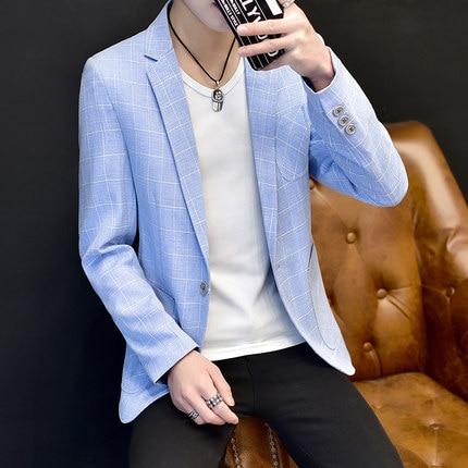 Linen Suits Men 's Summer Suit Breathable Men' S Small Suit Fashion Lattice Jacket Men 's Clothing Blazer Plus Size M - 3XL