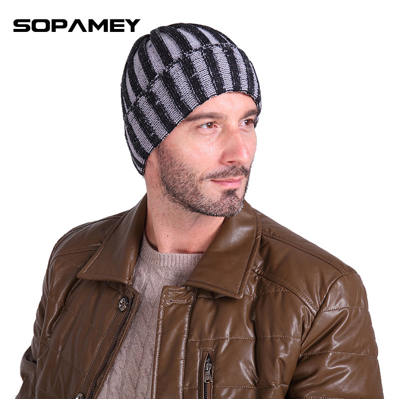 2017 High Quality Men Skullies Winter Wool Knitted Hat Male Brand Beanies Cap Casual Stripe Gray Headgear Hats For Men Beanies skullies