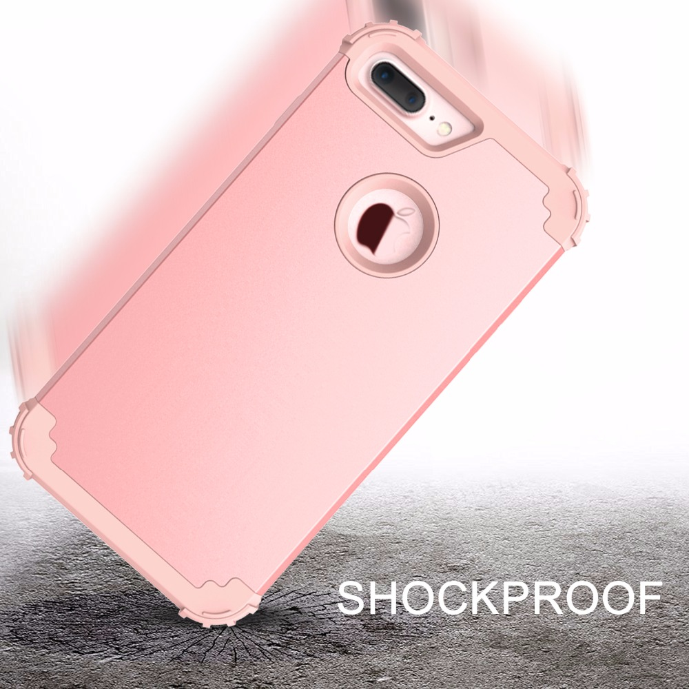 Shockproof Phone Cases for iPhone 6 6S 7 Plus,PC+TPU 3-Layers Hybrid Full-Body Protect Case for iPhone 7 Anti-Knock Phone Shell