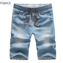 FGKKS 2017 New Summer Men Short Jeans Brand Cotton Straight Ripped Holes Knee Length Shorts Jean Elastic Denim Shorts Male