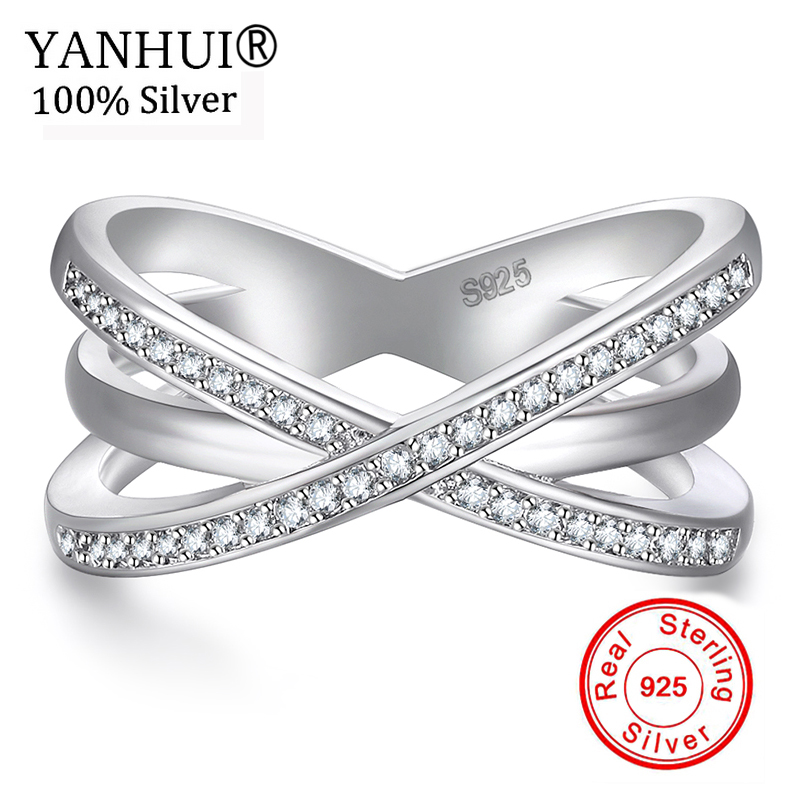 YANHUI 2018 New Fashion 925 Silver Cross Rings For Women Size 5 6 7 8 9 10 Female Party Finger Ring Zirconia Jewelry KYRA0118