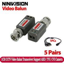CCTV – émetteur-récepteur BNC torsadé, 1 canal passif TVI CVI AHD, Balun vidéo, 10 pièces/lot, caméra coaxiale CAT5, câble UTP, adaptateur Coaxial