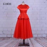 Inchados Vestidos de Baile vermelho 2017 Robe De Soiree Modest Mulheres formais Vestidos de Festa Chá de Comprimento Vestidos de Noite Com Cap Curto mangas