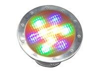 Novo arrvial aço inoxidável IP68 rgb led luz subaquática 9 w AC / DC12v led piscina com sobre a proteção atual