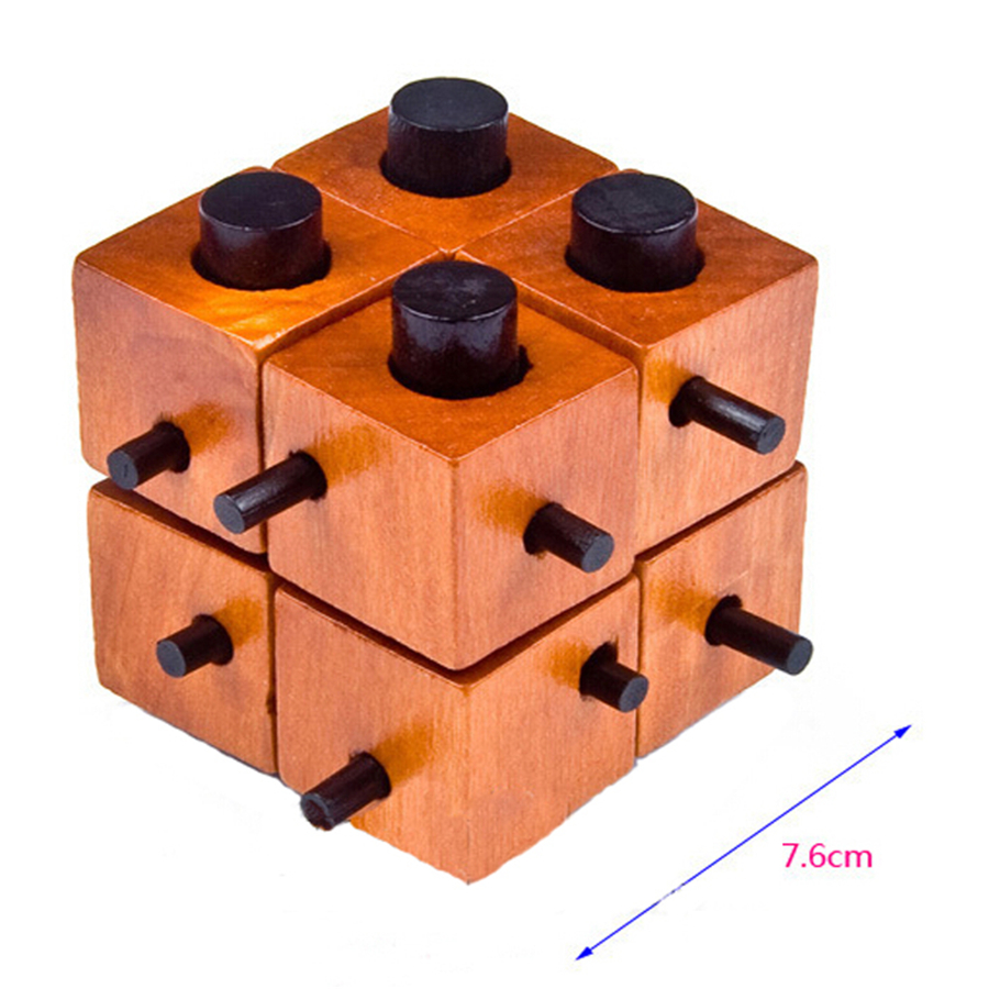 Wooden Puzzle IQ Mind Interlocking Puzzles Cubes 3D Brain Teaser Puzzles Game Toy for Kids and Adults 70B1205