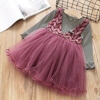 2pcs Girls Clothes Sets Children Spring Summer Princess Dress Striped Long Sleeve Shirt Princess Lace Tulle