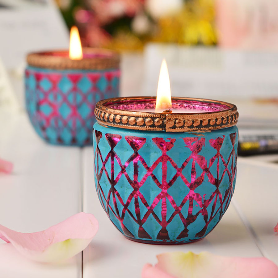 Gift Blue Party Candle Romantic Colorful Jar Tea Light Scented Candles Birthday Christmas Candele Candels Home Decoration 30C054