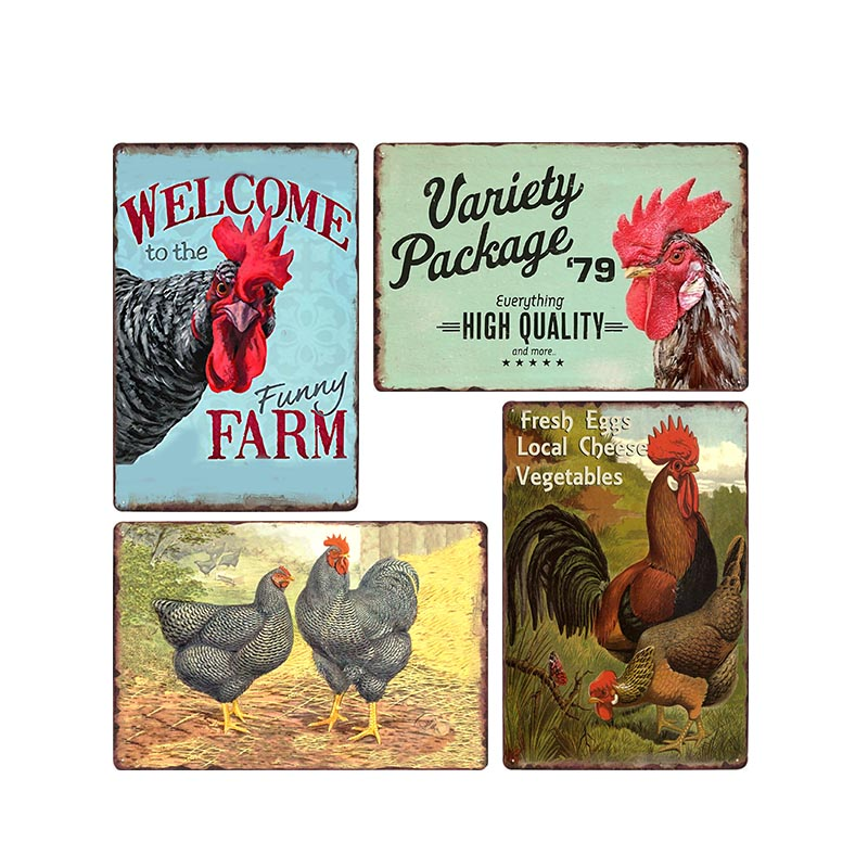 Chicken Sign Vintage Metal Tin Signs Store Farm Wall Poster Retro Animal Farmhouse Decor Plaque 30x20 cm image