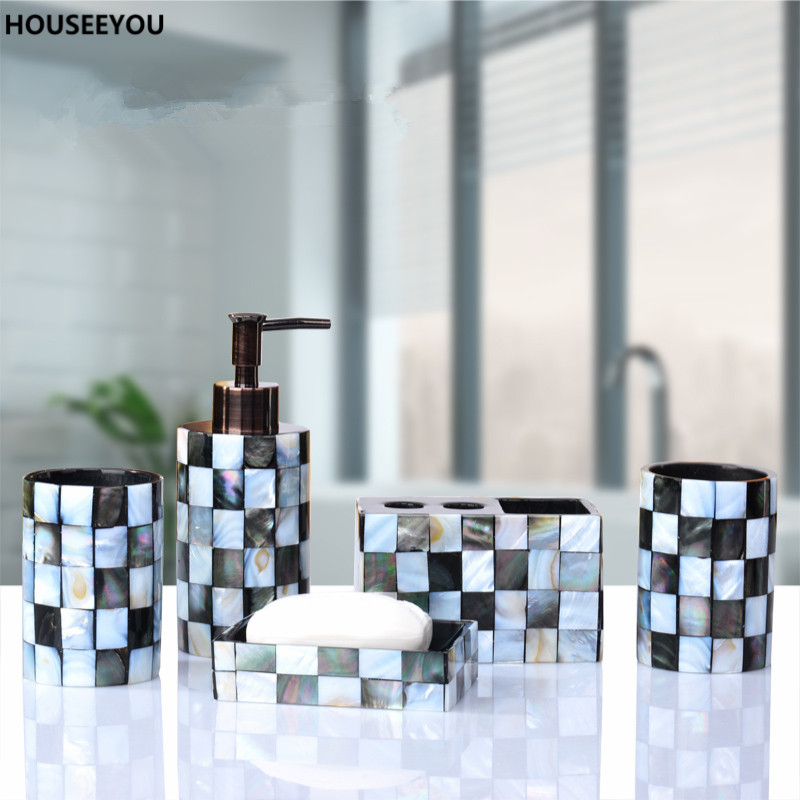 Resin Bathroom Accessories Set Black Butterfly Shells Soap Dispenser Toothbrush Holder Tumbler Soap