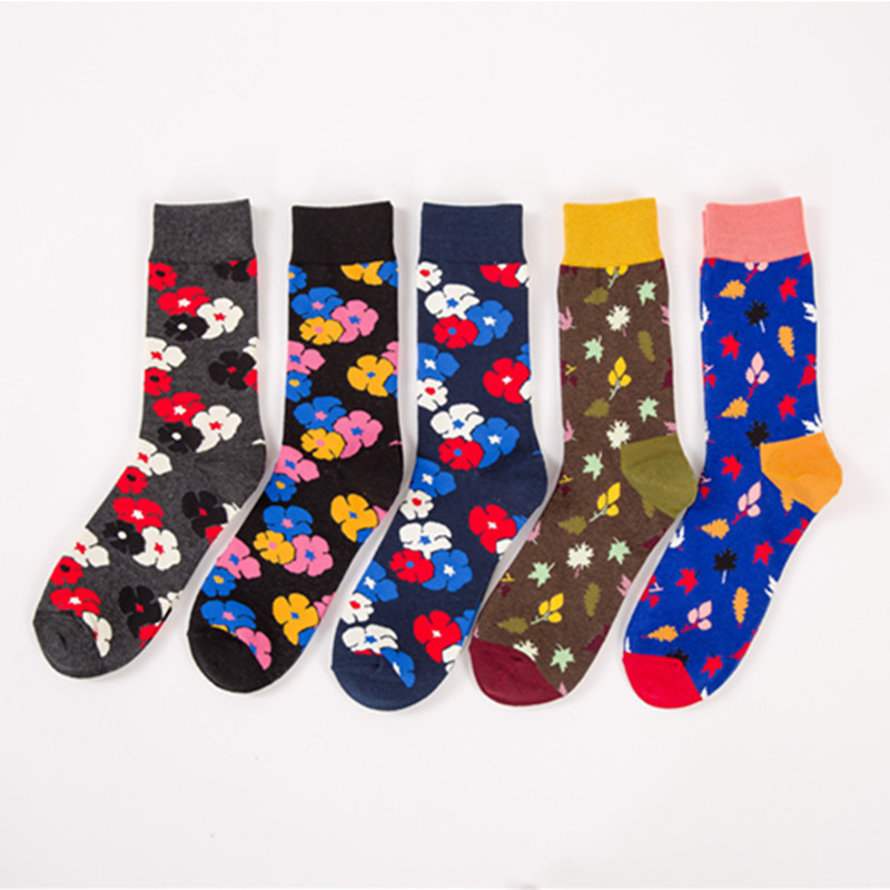 Peonfly 5pairs/lotfashion Colorful Socks Men Flower Optic Combed Cotton Male Sock Wedding Gift Men's Socks