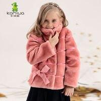 2015 Factory Bow Girls Wool Like Flannel Outerwear Coats Children Single Breasted Kids Wear Clothing Winter