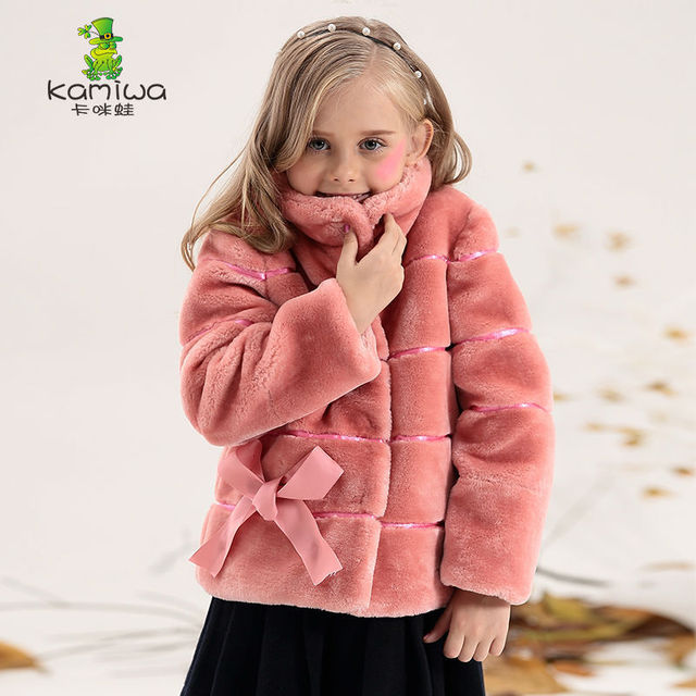 Relatively Girls Coats 2018 Winter And Jackets Bow Wool like Outerwear  VH41