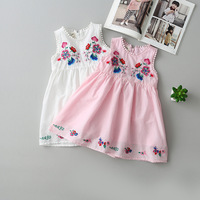Everweekend Girls Floral Embroidered Cotton Dress Sommer Ruffles Candy Color Party Dress
