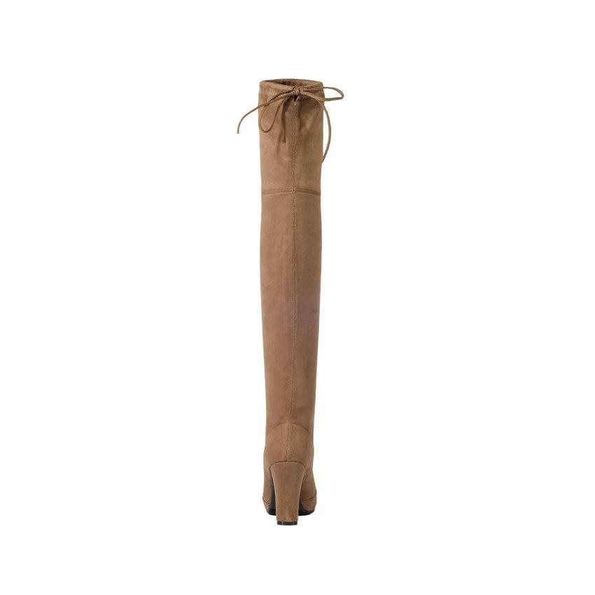 TASSLYNN 2018 Для женщин сапоги круглый носок обувь на высоких квадратных каблуках изящные зимние сапоги выше колена сапоги элегантные Женские б...