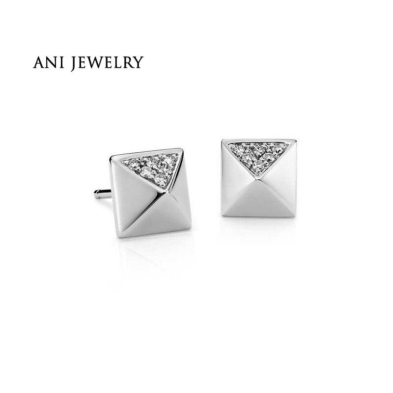 все цены на ANI 14K White Gold Women Stud Earrings 0.08 CT Certified I/S2 Natural Diamond Earrings Women Fine Jewelry aretes de mujer
