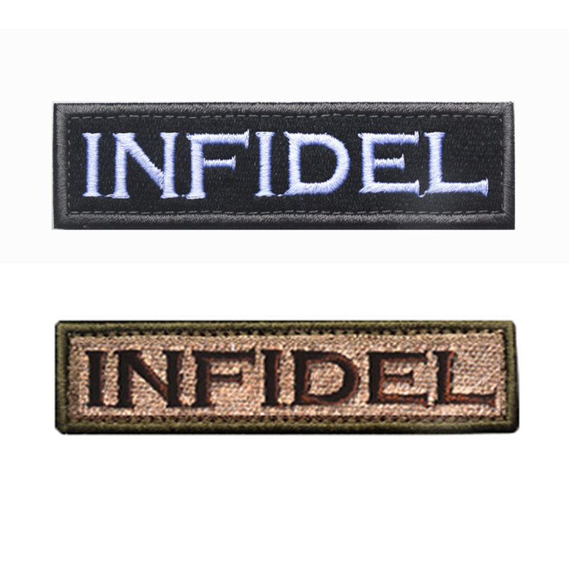 50 PCS INFIDEL STAY ON TARGET Military Embroidered Tactical Morale Patch Hook&Loop Embroidery Badge Decorative Patches Wholesale