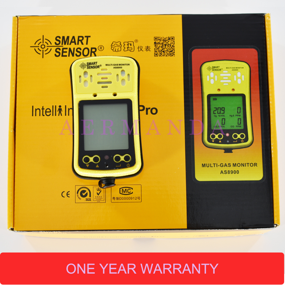 Portable Multi Gas Monitor Detector 4 in 1 Smart Sensor AS8900 CO O2 H2S Combustible gas leakage detection in Gas Analyzers from Tools