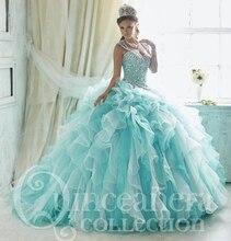 2017 Blue Quinceanera Dress Organza Ball Gown Vestidos De 15 Anos Beaded Shiny Crystal Prom Dresses Sweet 16 Dresses QS18
