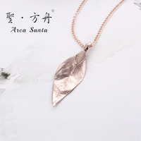 ArcaSanta Unique Bohemia True Leaves Necklace Brand Designer Ladies Ethnic Necklaces Fashion Real Leaves