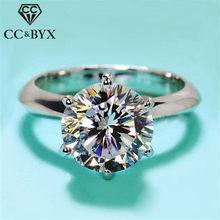 Cc s925 2 quilates de prata chapeado cor anéis para as mulheres branco ouro casamento anel romântico noivado jóias festa anillos mujer