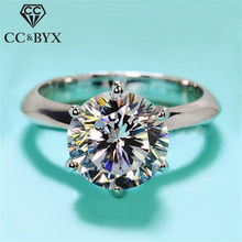 CC 2 Carat Silver Rings For Women White Gold Color Wedding Ring Romantic Bridal 2017 Engagement Jewelry Party Anillos Mujer(China)