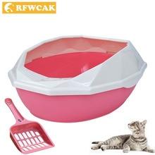 RFWCAK съемная пластиковая коробка для уборки домашних животных с алмазной огранкой, полузакрытая многоразовая коробка для кошачьего туалета