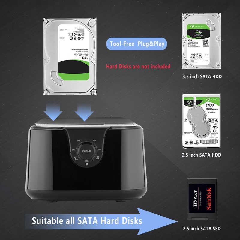 المزدوج خليج سد/قاعدة تركيب الأقراص الصلبة قرص صلب لرسو السفن ساتا الثالث إلى USB3.0 محطة الإرساء استنساخ وظيفة ل 2.5/3.5 هد المحمول