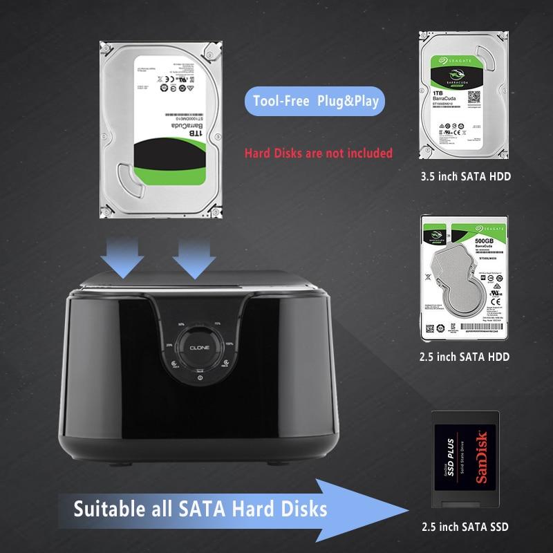 Dual bay SSD / HDD docking station, Hard disk docking Sata III ke - Penyimpanan eksternal - Foto 3