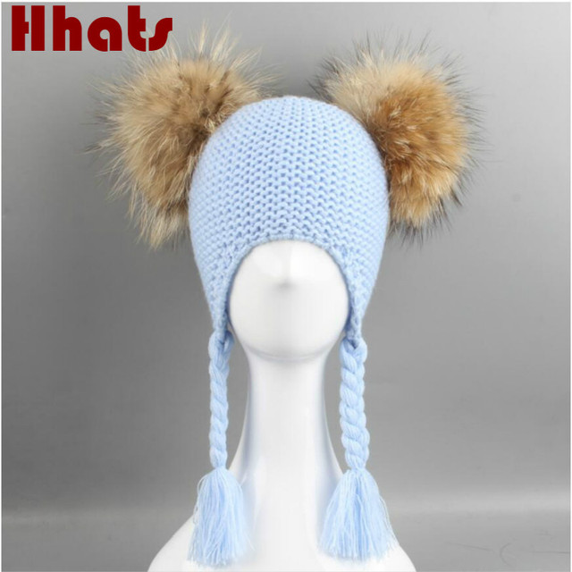 Which in shower two fur pompom knit kids earflap hat double real raccoon fur  pom pom ball winter hat beanie for baby boy girl bb35fc393998