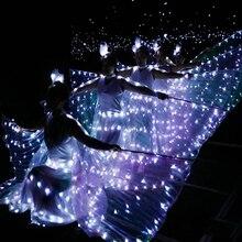 LED Luminous Wings Ballet Costume Fluorescent Butterfly Dance Belly Props Women Girls Angle Dress
