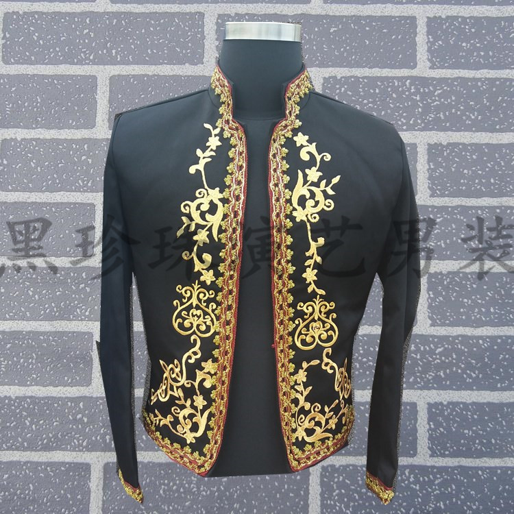 Free ship mens black vintage golden pattern embroidery medieval tuxedo short jacket/stage performance, this is only jacket.