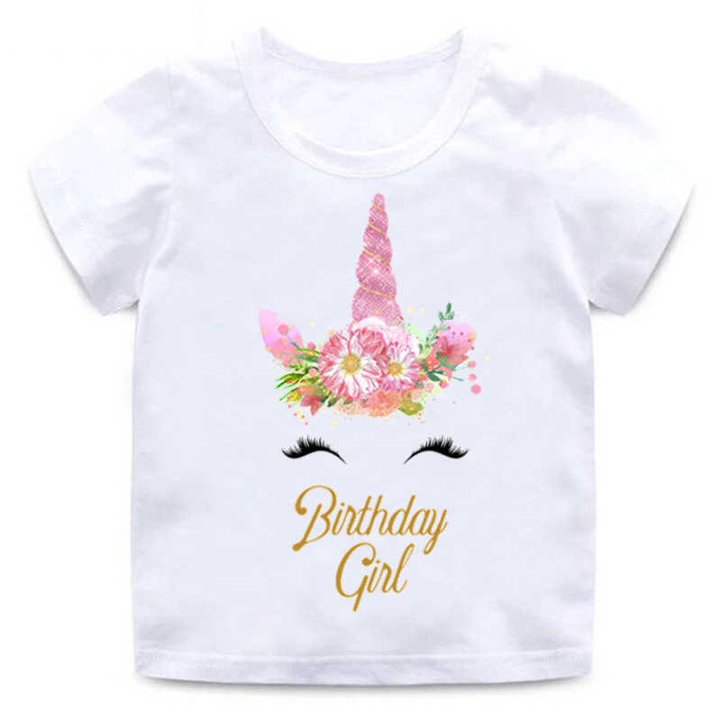 Children Unicorn T-shirt Happy Birthday Girl Print Funny Round Neck Cotton T-Shirt Baby Girl Cartoon Summer Short Sleeve Clothes
