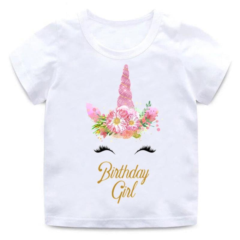 Children Unicorn T-shirt Happy Birthday Girl Print Funny Round Neck Cotton T-Shirt Baby Girl Cartoon Summer Short Sleeve Clothes