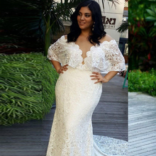 Vestido de novia de talla grande 2019 vestidos de novia de sirena de hombro vestido de novia de encaje Vintage vestido de novia bata de mariee