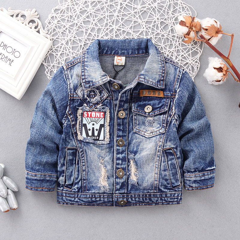 Autumn New Fashion Children Outerwear&Coats <font><b>Boys</b></font> Clothing Hole <font><b>Denim</b></font> Jacket Baby Kids Jackets Long Sleeve Letter Jeans Coat
