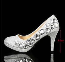2016 Handmade Crystal Diamond Shoe Beaded Silver High-heeled Round Toe Bridesmaid Shoes  for Wedding  Formal Shoes  Shoes Woman