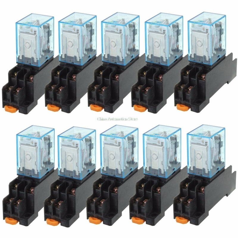 Brand New 10pcs 24V DC 10A 8PIN Coil Power Relay DPDT LY2NJ HH62P HHC68A-2Z With Socket Base jtron 5 pin power relay black 24v 10a 2 pcs