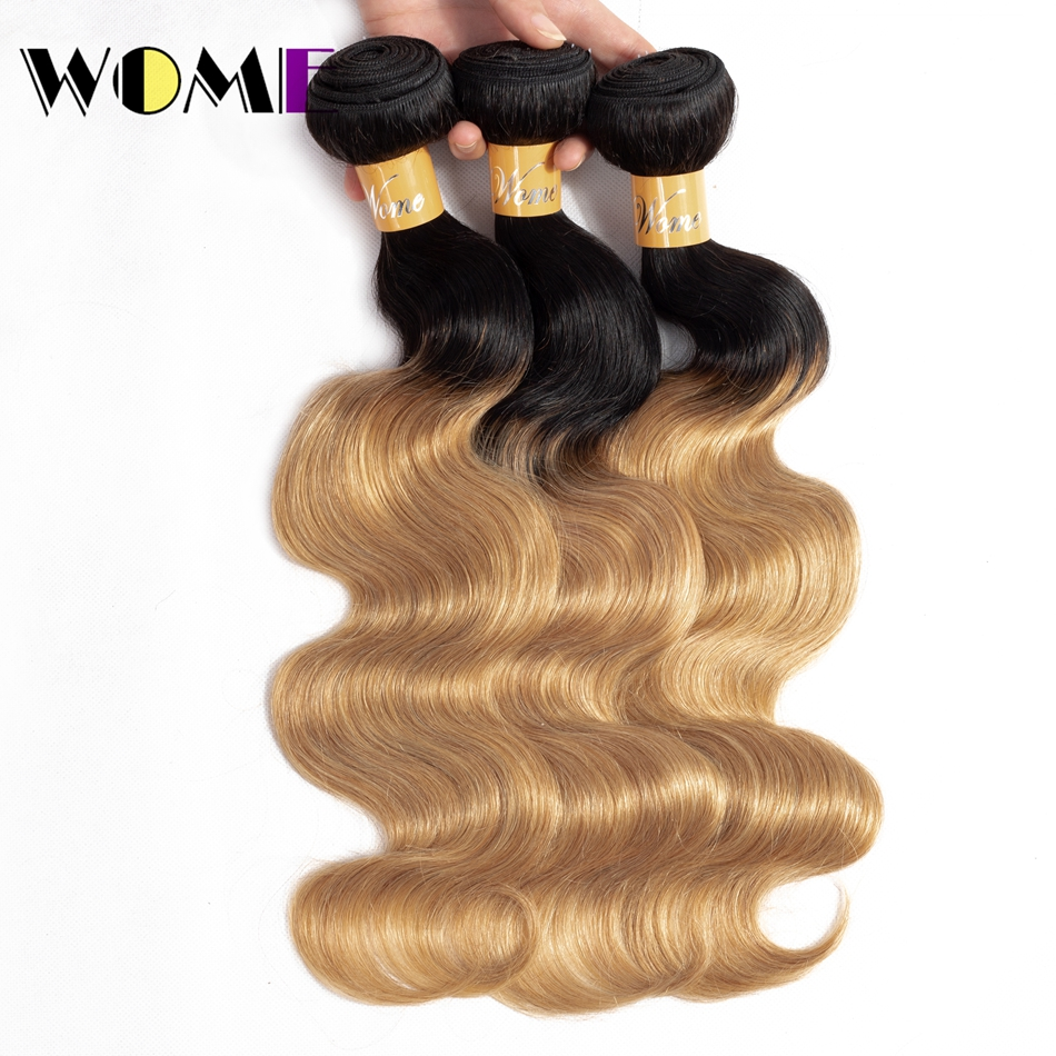 Human Hair Weaves Just Wome #27 Mongolian Deep Wave Hair 3 Bundles Honey Blonde Color Human Hair With Closure Non Remy Curly Hair Extensions