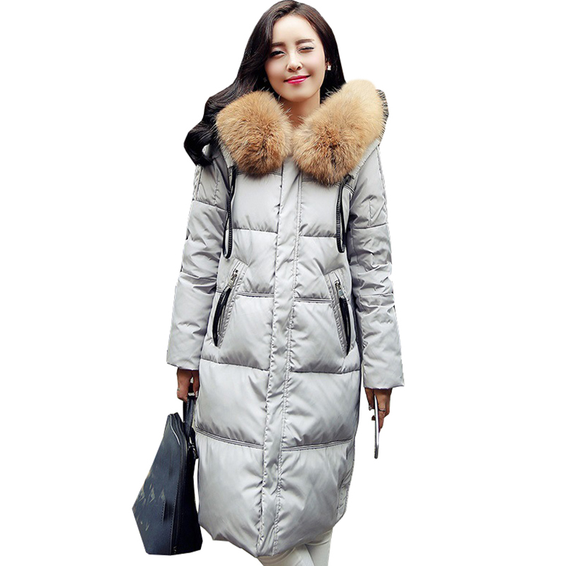 2017 new hot winter Thicken Warm woman duck Down jacket Coat Parkas Outerwear Raccoon Fur collar Hooded long plus size XL QH0898 2015 winter thicken warm woman down jacket tan fur collar coat parkas outerweat slim luxury brand mid long cloak 2xxl black