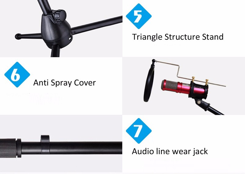 Mic Microphone Suspension Boom Scissor Arm Stand Holder For Ipad Mini Phone for Studio Broadcast Internet Karaoke MV Recording 1 (3)