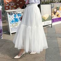 2019 Spring Summer New Pattern High Waist Solid Splice Joint Mesh Long Loose Japan Style Skirt Women Fashion Tide R309
