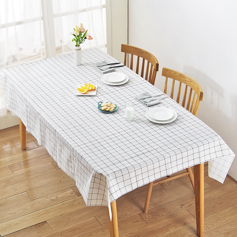 Vanzlife Creative Oil Tablecloth Nordic Contracted Household Cloth Waterproof Cloth Tea Table Cloth Cover PEVA Grid Table  Mat