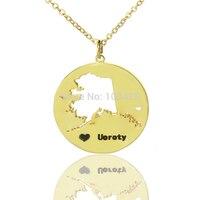 DIY אמריקה מדינת שרשראות שרשרת אלסקה מדינת מדינת שרשראות עם לב שחור חקוק שם שרשרת זהב צבע המפה