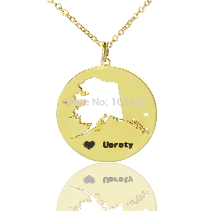 DIY America State Necklaces Engraved Black Name State Necklaces With Heart Alaska State Necklace Gold Color The Map Necklace