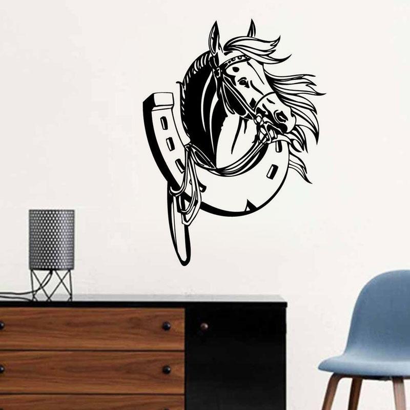 Vyjímatelný 57X80Horses Head Kids Room Wall Decal Art Ložnice Samolepka na doma Dekor na zeď Samolepka na zeď Vinyl Wall Paper A-129