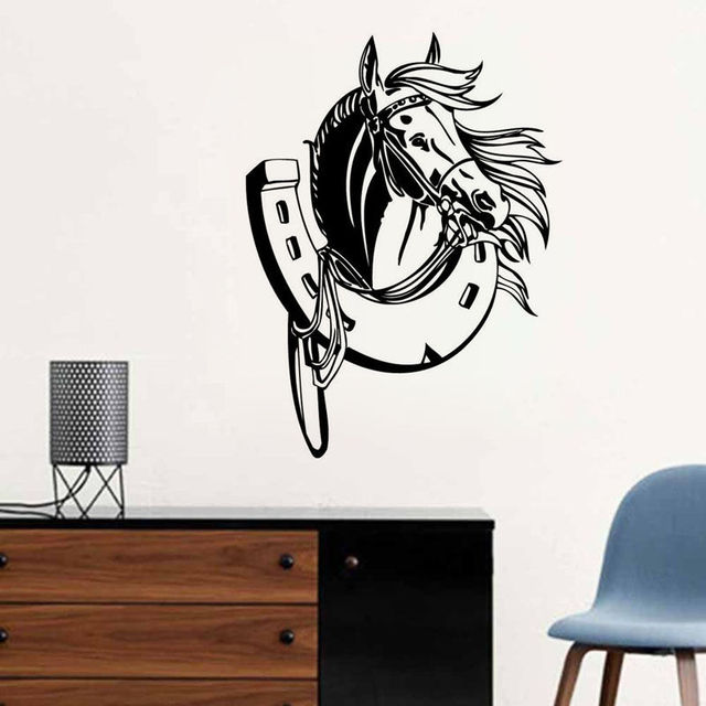 removable 57x80horses head kids room wall decal art bedroom sticker