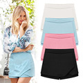 2016 Hot 4 Colors Womens Tiered Irregular Zipper Chiffon Short Shorts Skirt Trousers Plus Size XXL Blue Black White Pink